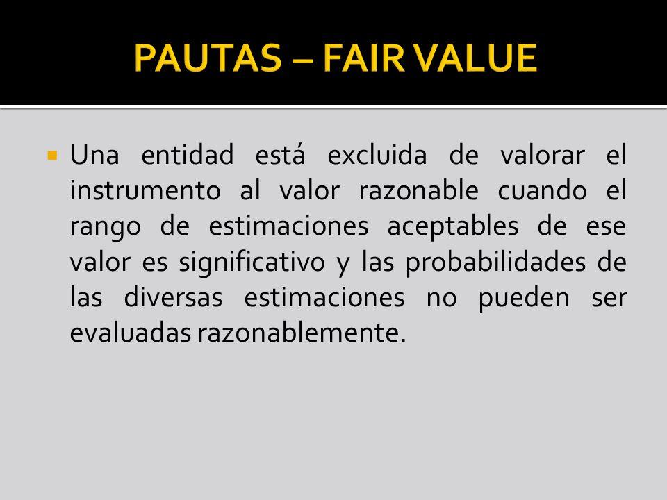 Una entidad está excluida de valorar el instrumento al valor razonable cuando el rango de estimaciones aceptables de ese valor es significativo y las