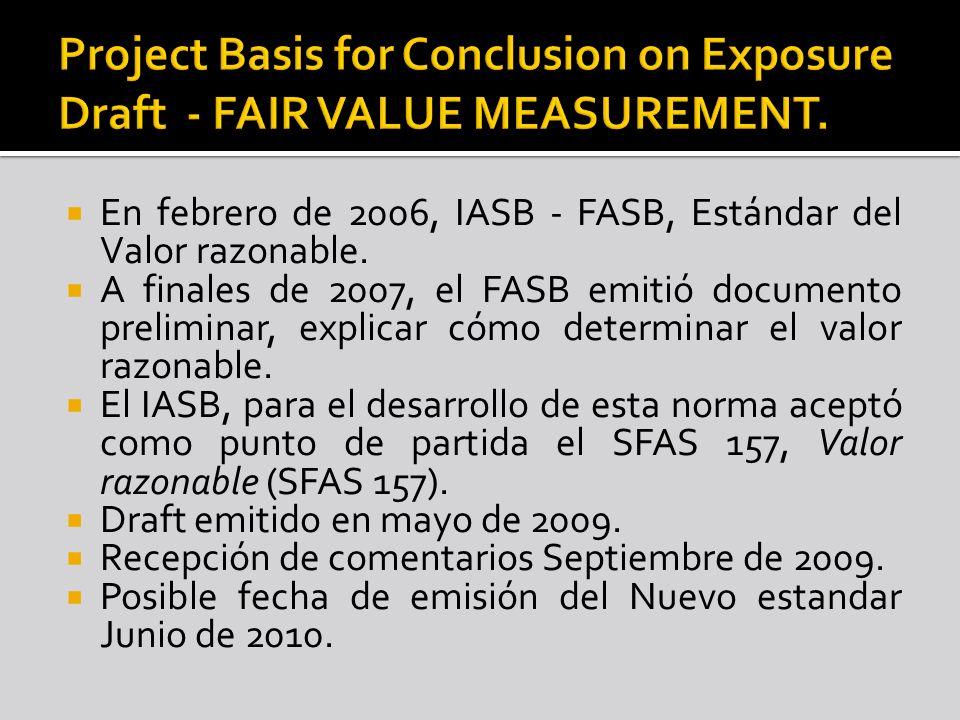 En febrero de 2006, IASB - FASB, Estándar del Valor razonable. A finales de 2007, el FASB emitió documento preliminar, explicar cómo determinar el val