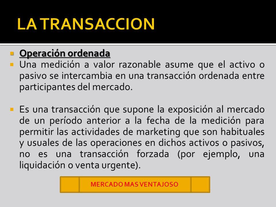 Operación ordenada Operación ordenada Una medición a valor razonable asume que el activo o pasivo se intercambia en una transacción ordenada entre par
