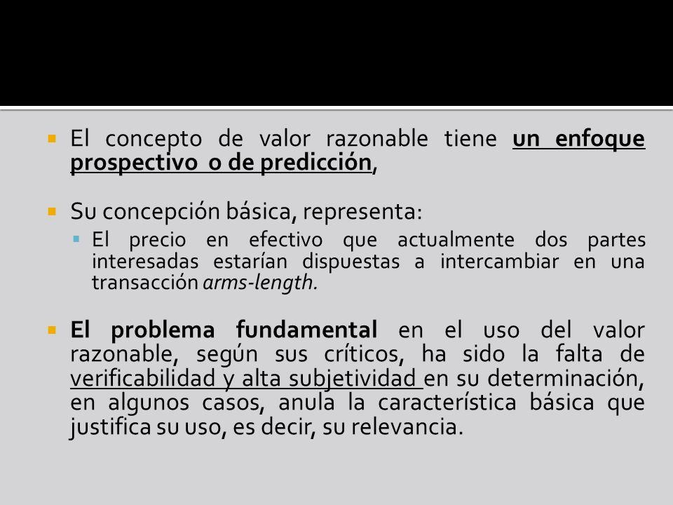 El concepto de valor razonable tiene un enfoque prospectivo o de predicción, Su concepción básica, representa: El precio en efectivo que actualmente d