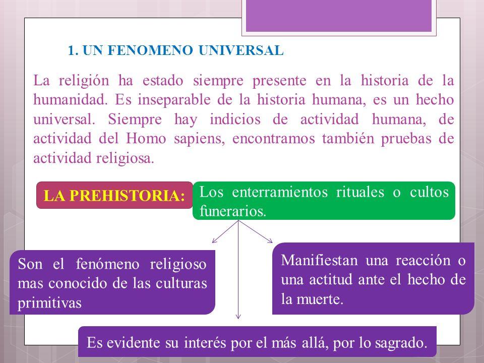 1. UN FENOMENO UNIVERSAL La religión ha estado siempre presente en la historia de la humanidad. Es inseparable de la historia humana, es un hecho univ