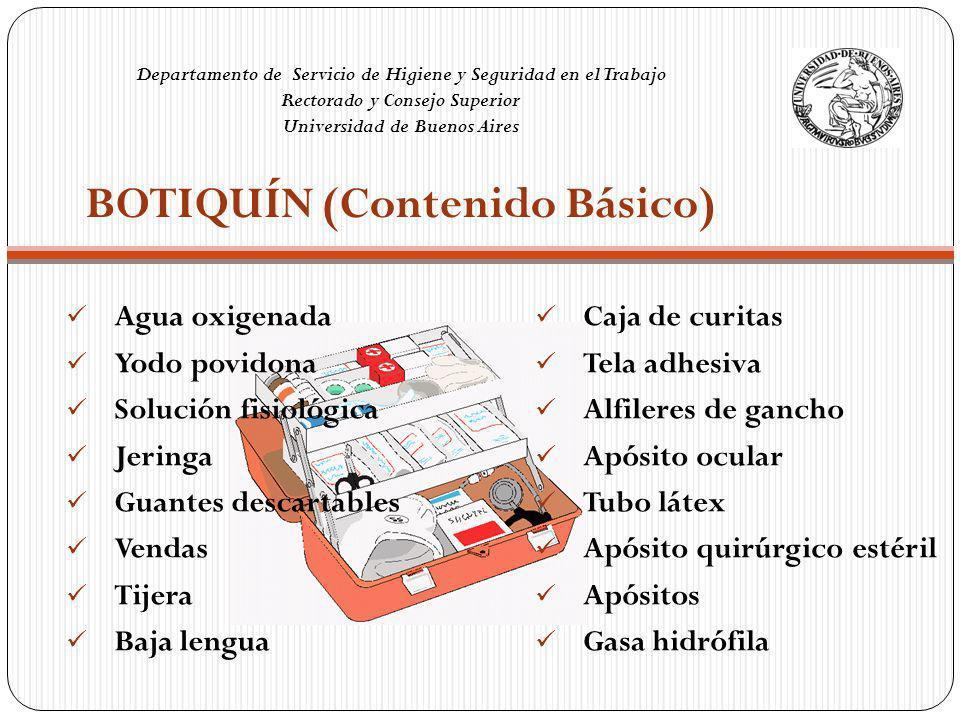 BOTIQUÍN (Contenido Básico) Departamento de Servicio de Higiene y Seguridad en el Trabajo Rectorado y Consejo Superior Universidad de Buenos Aires Agu