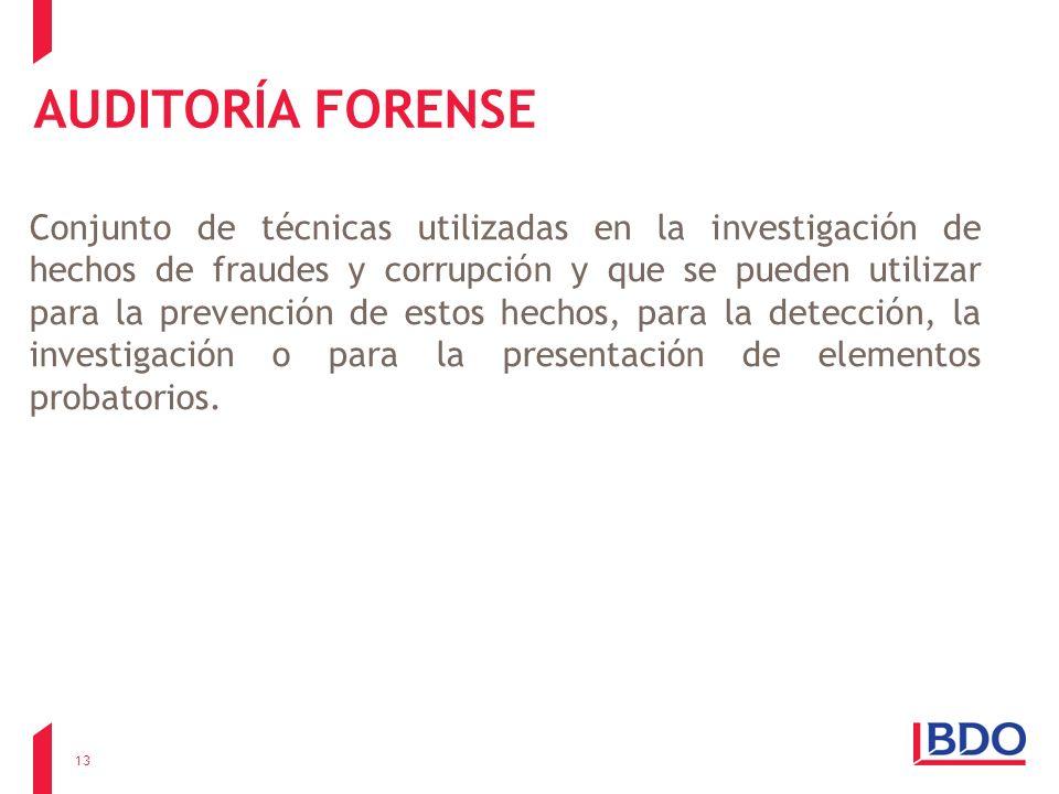 AUDITORÍA FORENSE Conjunto de técnicas utilizadas en la investigación de hechos de fraudes y corrupción y que se pueden utilizar para la prevención de