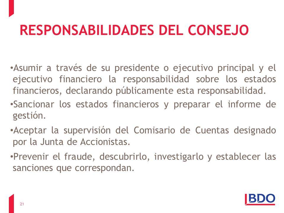 RESPONSABILIDADES DEL CONSEJO Asumir a través de su presidente o ejecutivo principal y el ejecutivo financiero la responsabilidad sobre los estados fi