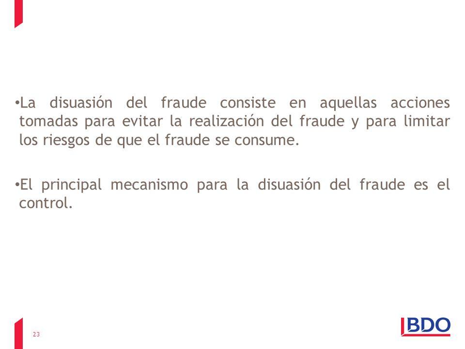 La disuasión del fraude consiste en aquellas acciones tomadas para evitar la realización del fraude y para limitar los riesgos de que el fraude se con