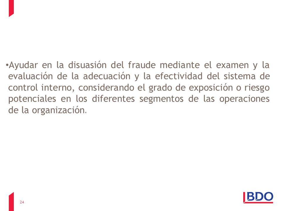 Ayudar en la disuasión del fraude mediante el examen y la evaluación de la adecuación y la efectividad del sistema de control interno, considerando el