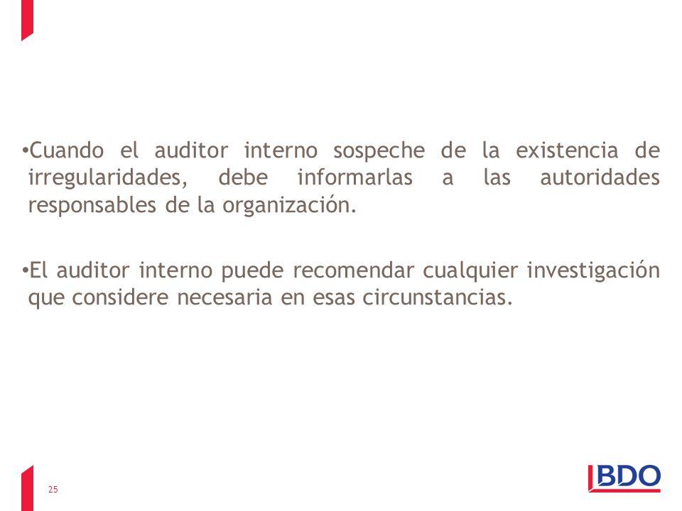 Cuando el auditor interno sospeche de la existencia de irregularidades, debe informarlas a las autoridades responsables de la organización. El auditor