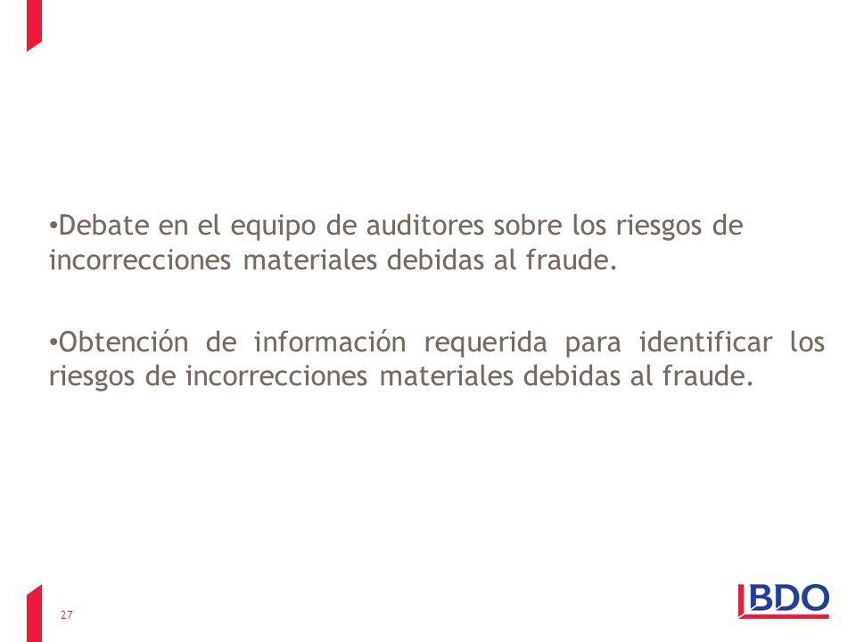 Debate en el equipo de auditores sobre los riesgos de incorrecciones materiales debidas al fraude. Obtención de información requerida para identificar