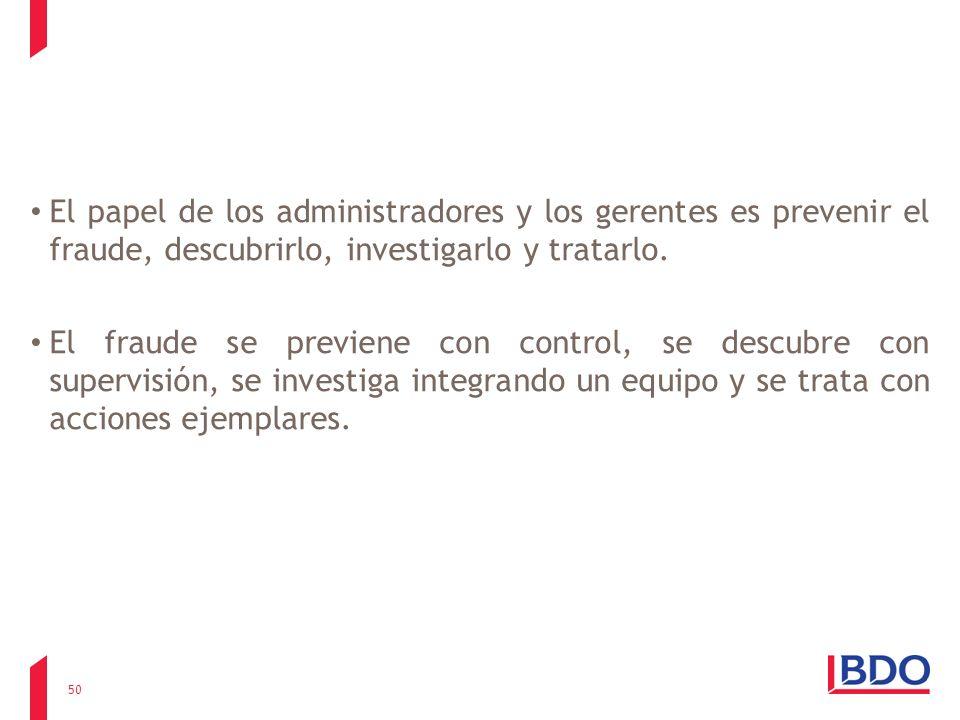 El papel de los administradores y los gerentes es prevenir el fraude, descubrirlo, investigarlo y tratarlo. El fraude se previene con control, se desc
