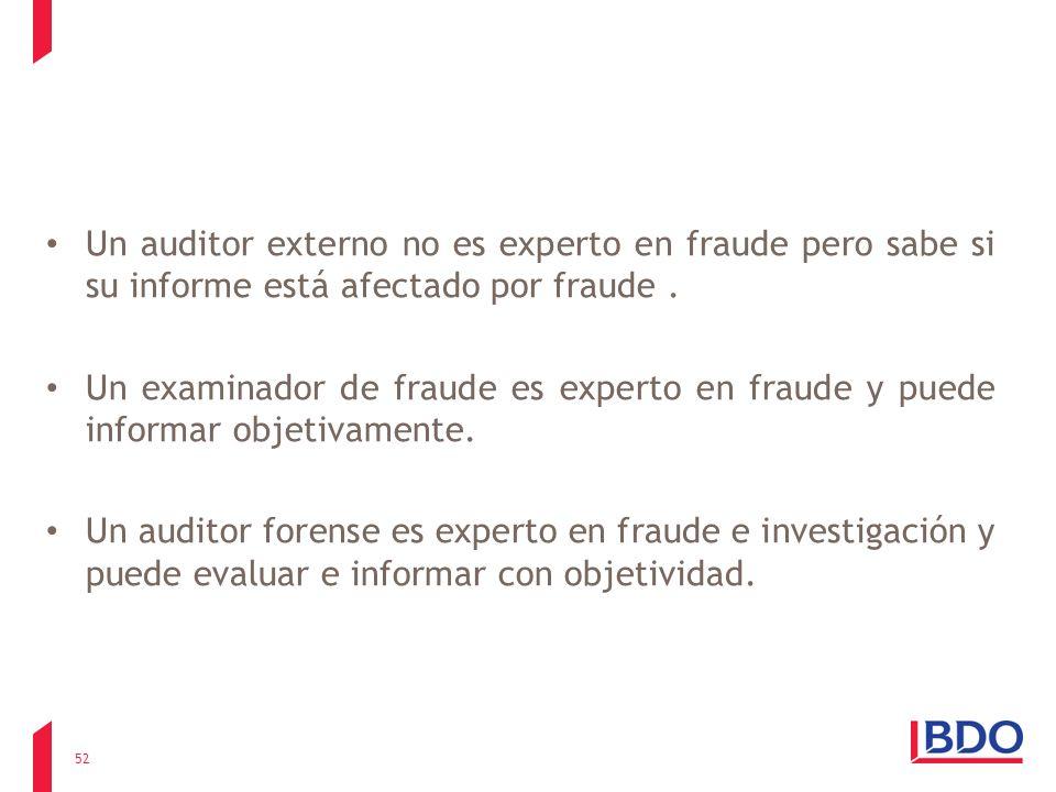 Un auditor externo no es experto en fraude pero sabe si su informe está afectado por fraude. Un examinador de fraude es experto en fraude y puede info