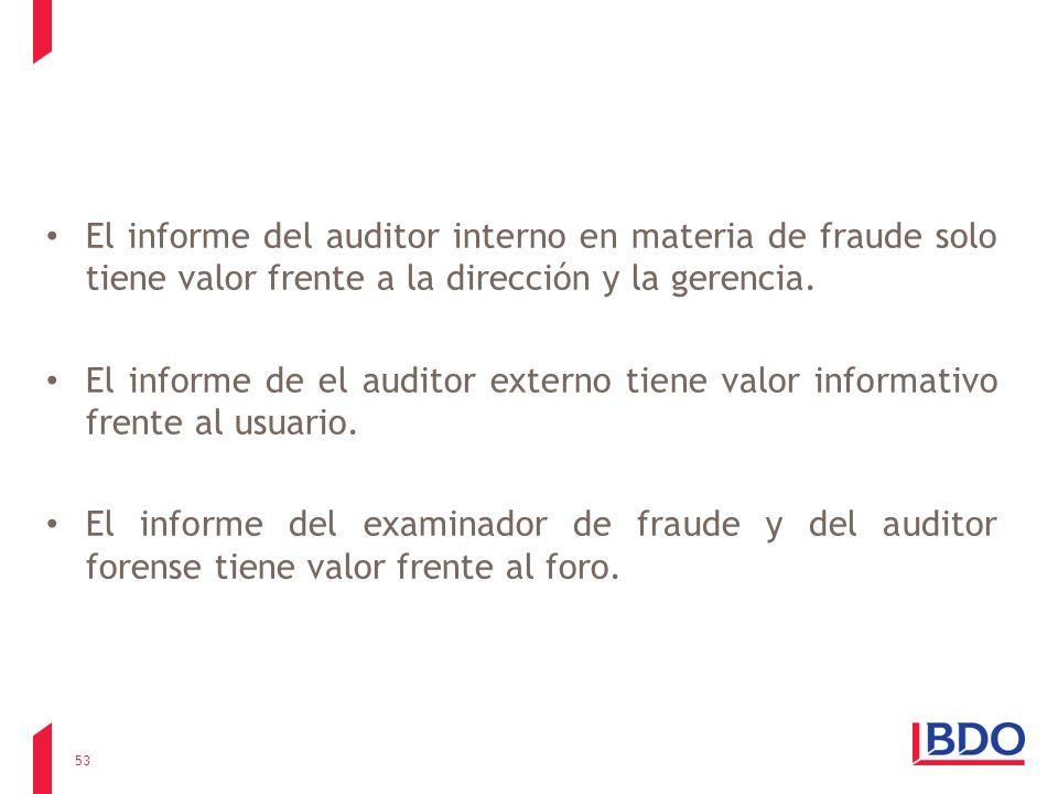El informe del auditor interno en materia de fraude solo tiene valor frente a la dirección y la gerencia. El informe de el auditor externo tiene valor