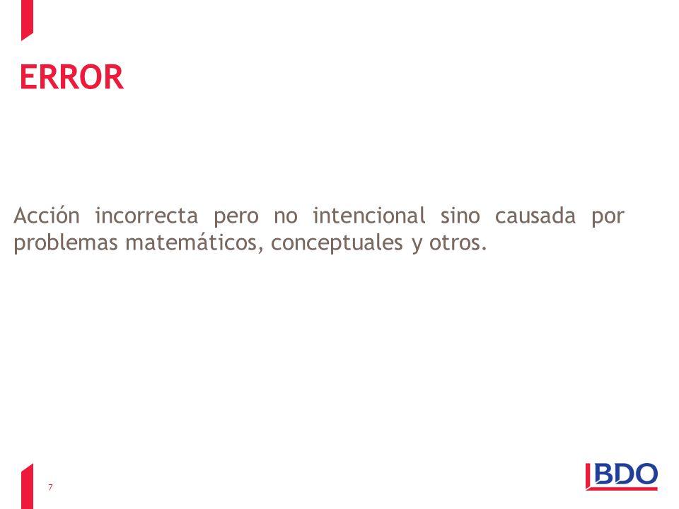 ERROR Acción incorrecta pero no intencional sino causada por problemas matemáticos, conceptuales y otros. 7