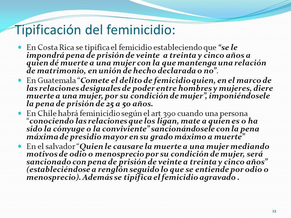 12 Tipificación del feminicidio: En Costa Rica se tipifica el femicidio estableciendo que se le impondrá pena de prisión de veinte a treinta y cinco a