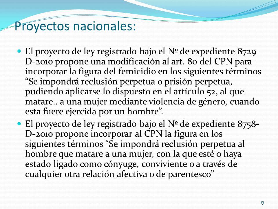 13 Proyectos nacionales: El proyecto de ley registrado bajo el Nº de expediente 8729- D-2010 propone una modificación al art. 80 del CPN para incorpor