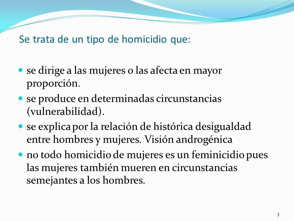 33 Se trata de un tipo de homicidio que: se dirige a las mujeres o las afecta en mayor proporción. se produce en determinadas circunstancias (vulnerab