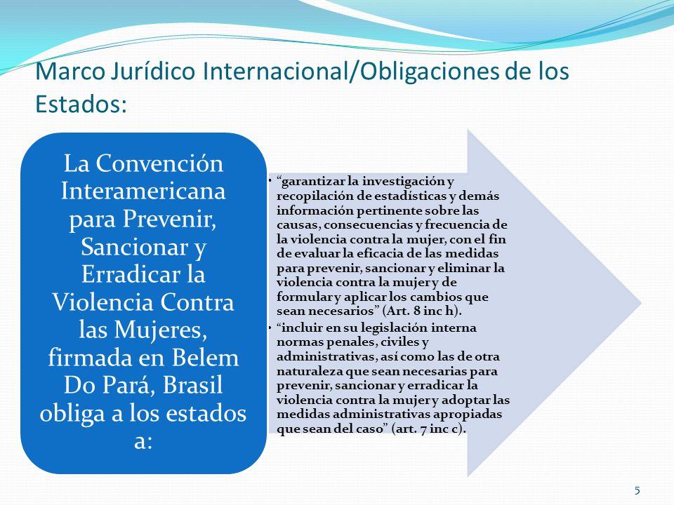55 Marco Jurídico Internacional/Obligaciones de los Estados: garantizar la investigación y recopilación de estadísticas y demás información pertinente