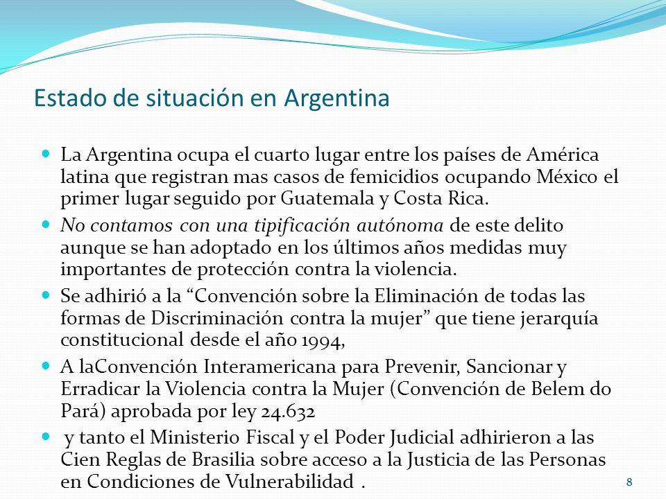 88 Estado de situación en Argentina La Argentina ocupa el cuarto lugar entre los países de América latina que registran mas casos de femicidios ocupando México el primer lugar seguido por Guatemala y Costa Rica.