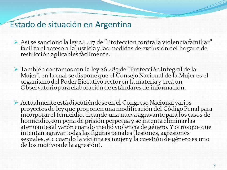 99 Estado de situación en Argentina Así se sancionó la ley 24.417 de Protección contra la violencia familiar facilita el acceso a la justicia y las medidas de exclusión del hogar o de restricción aplicables fácilmente.