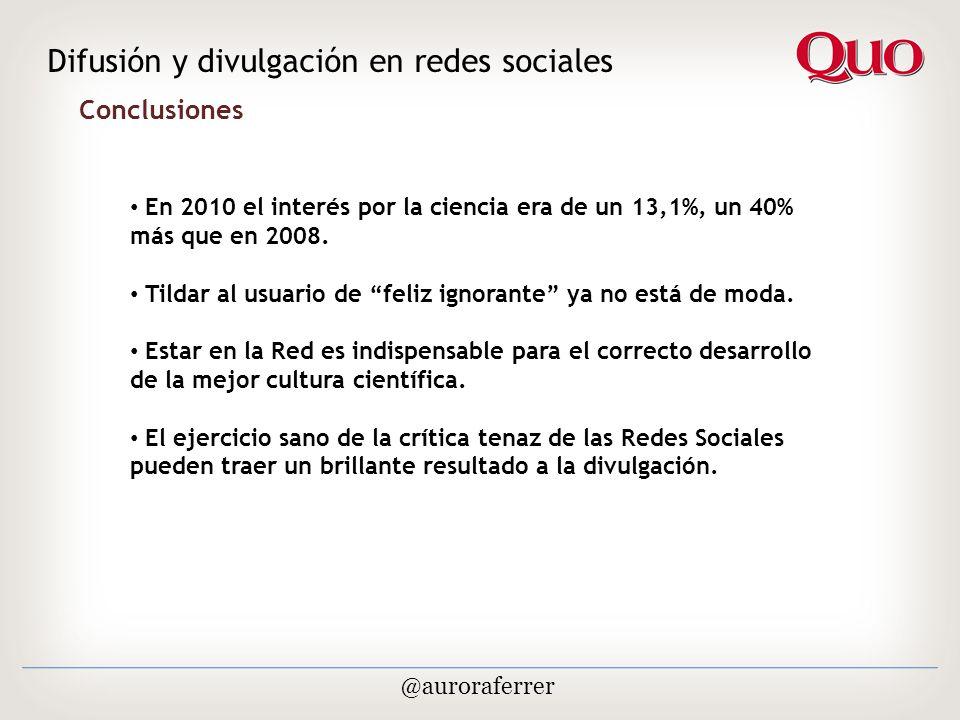 Conclusiones Difusión y divulgación en redes sociales @auroraferrer En 2010 el interés por la ciencia era de un 13,1%, un 40% más que en 2008.