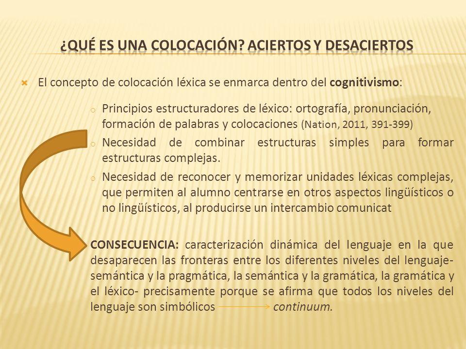 El concepto de colocación léxica se enmarca dentro del cognitivismo: o Principios estructuradores de léxico: ortografía, pronunciación, formación de p