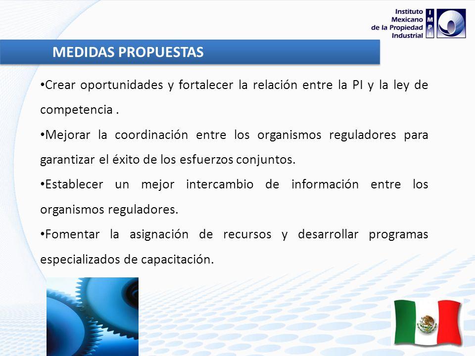 Crear oportunidades y fortalecer la relación entre la PI y la ley de competencia. Mejorar la coordinación entre los organismos reguladores para garant