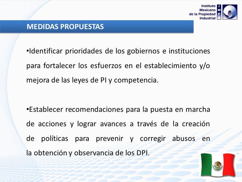 Identificar prioridades de los gobiernos e instituciones para fortalecer los esfuerzos en el establecimiento y/o mejora de las leyes de PI y competencia.