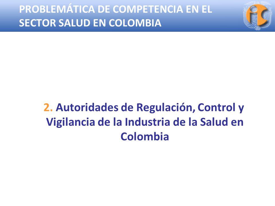 Superintendencia de Industria y Comercio PROBLEMÁTICA DE COMPETENCIA EN EL SECTOR SALUD EN COLOMBIA 2. Autoridades de Regulación, Control y Vigilancia