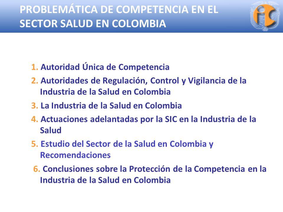 Superintendencia de Industria y Comercio PROBLEMÁTICA DE COMPETENCIA EN EL SECTOR SALUD EN COLOMBIA 1. Autoridad Única de Competencia 2. Autoridades d