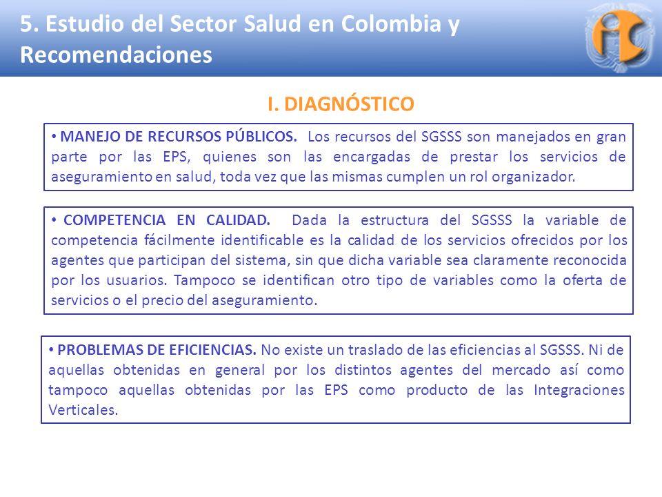 Superintendencia de Industria y Comercio 5. Estudio del Sector Salud en Colombia y Recomendaciones COMPETENCIA EN CALIDAD. Dada la estructura del SGSS