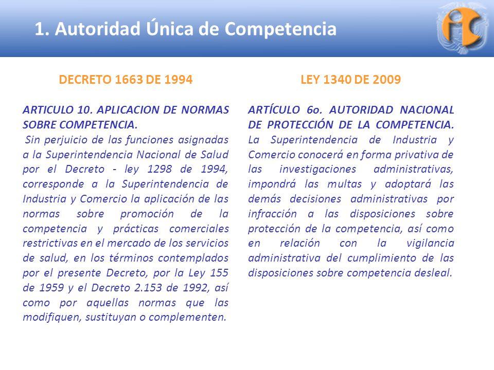 Superintendencia de Industria y Comercio LEY 1340 DE 2009 ARTÍCULO 6o. AUTORIDAD NACIONAL DE PROTECCIÓN DE LA COMPETENCIA. La Superintendencia de Indu