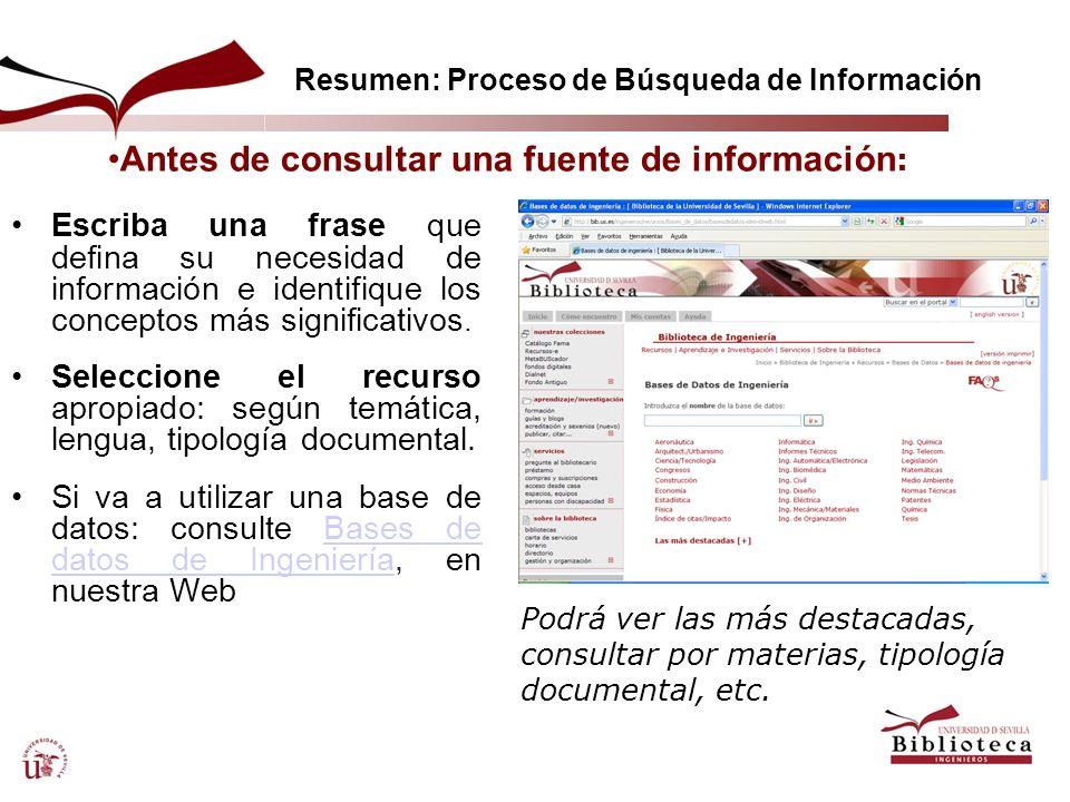Resumen: Proceso de Búsqueda de Información Escriba una frase que defina su necesidad de información e identifique los conceptos más significativos. S