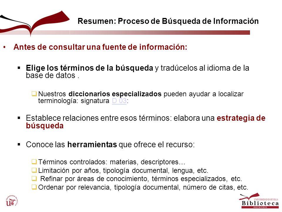 Resumen: Proceso de Búsqueda de Información Antes de consultar una fuente de información: Elige los términos de la búsqueda y tradúcelos al idioma de