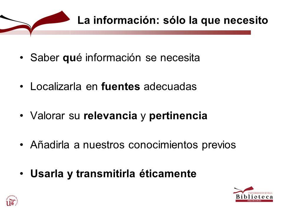 La información: sólo la que necesito Saber qué información se necesita Localizarla en fuentes adecuadas Valorar su relevancia y pertinencia Añadirla a