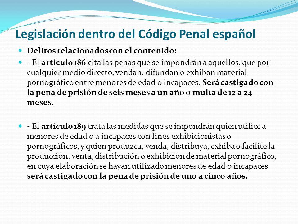 Legislación dentro del Código Penal español Delitos relacionados con el contenido: - El artículo 186 cita las penas que se impondrán a aquellos, que p