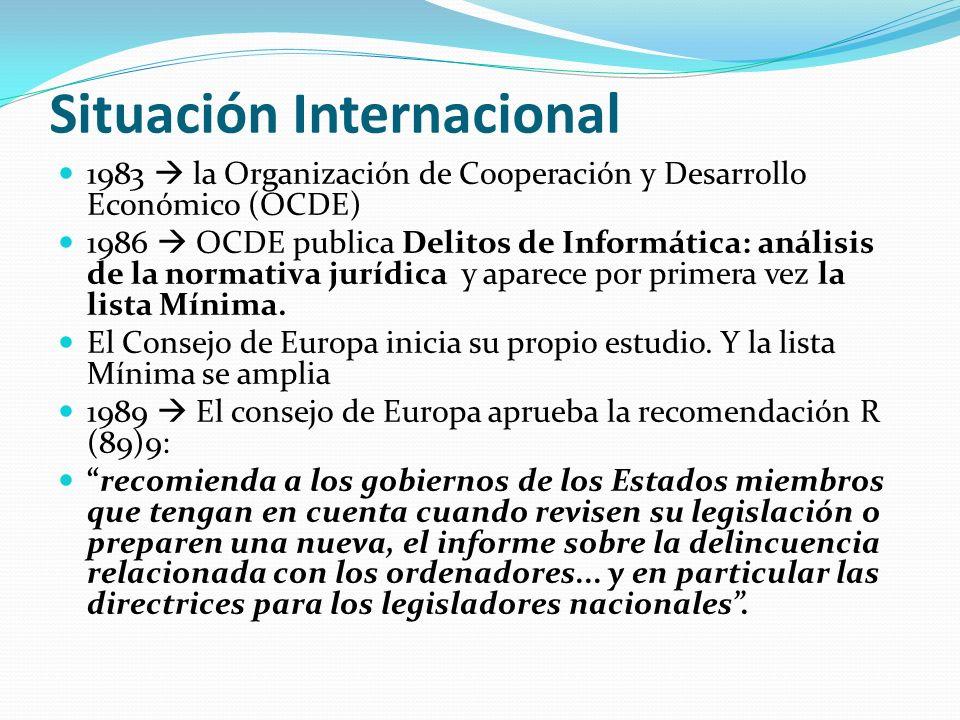 Situación Internacional 1983 la Organización de Cooperación y Desarrollo Económico (OCDE) 1986 OCDE publica Delitos de Informática: análisis de la nor