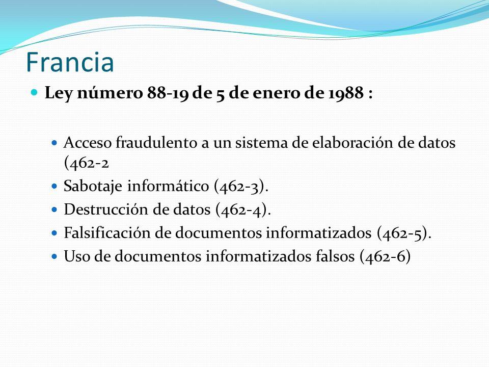 Francia Ley número 88-19 de 5 de enero de 1988 : Acceso fraudulento a un sistema de elaboración de datos (462-2 Sabotaje informático (462-3). Destrucc