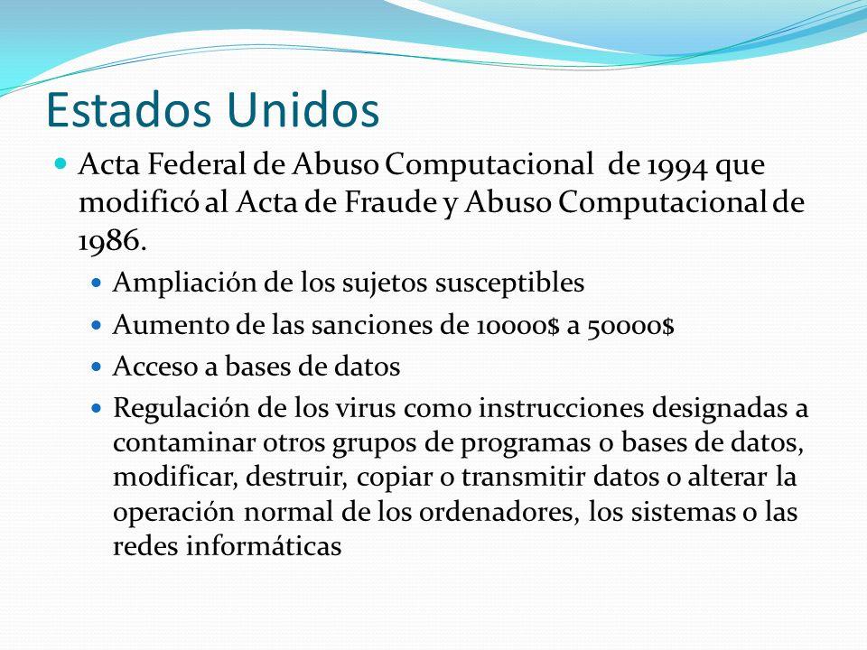 Estados Unidos Acta Federal de Abuso Computacional de 1994 que modificó al Acta de Fraude y Abuso Computacional de 1986. Ampliación de los sujetos sus