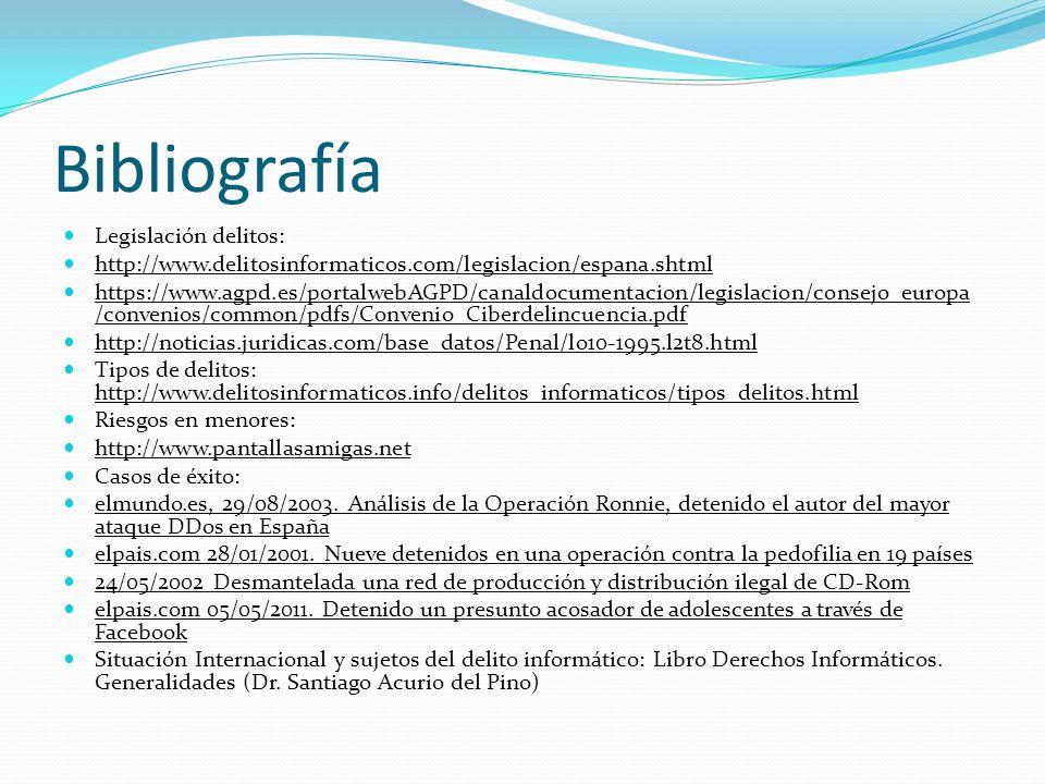 Bibliografía Legislación delitos: http://www.delitosinformaticos.com/legislacion/espana.shtml https://www.agpd.es/portalwebAGPD/canaldocumentacion/leg