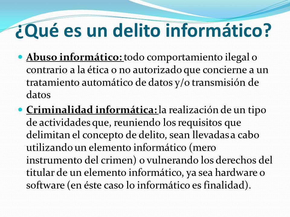 ¿Qué es un delito informático? Abuso informático: todo comportamiento ilegal o contrario a la ética o no autorizado que concierne a un tratamiento aut