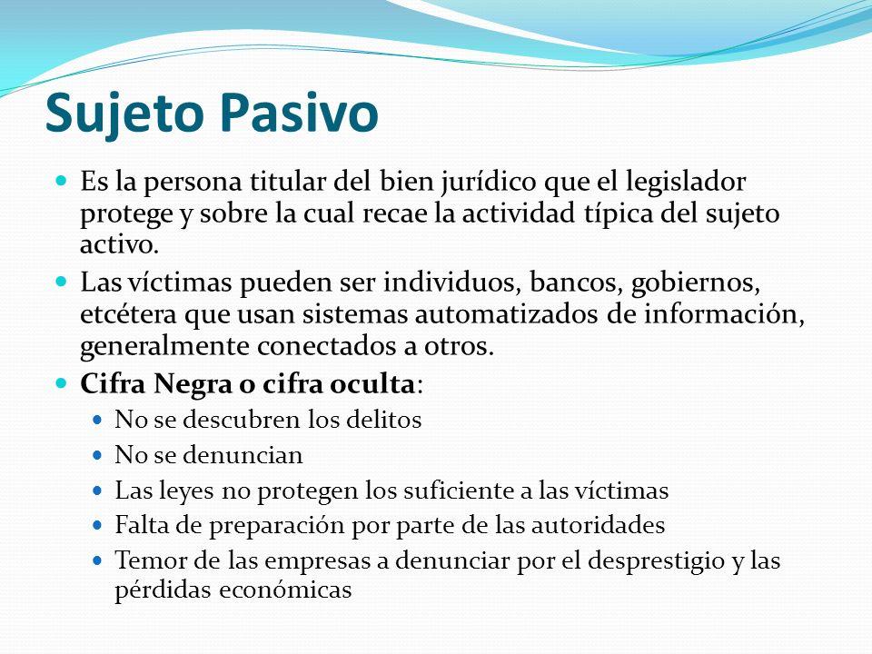 Sujeto Pasivo Es la persona titular del bien jurídico que el legislador protege y sobre la cual recae la actividad típica del sujeto activo. Las vícti