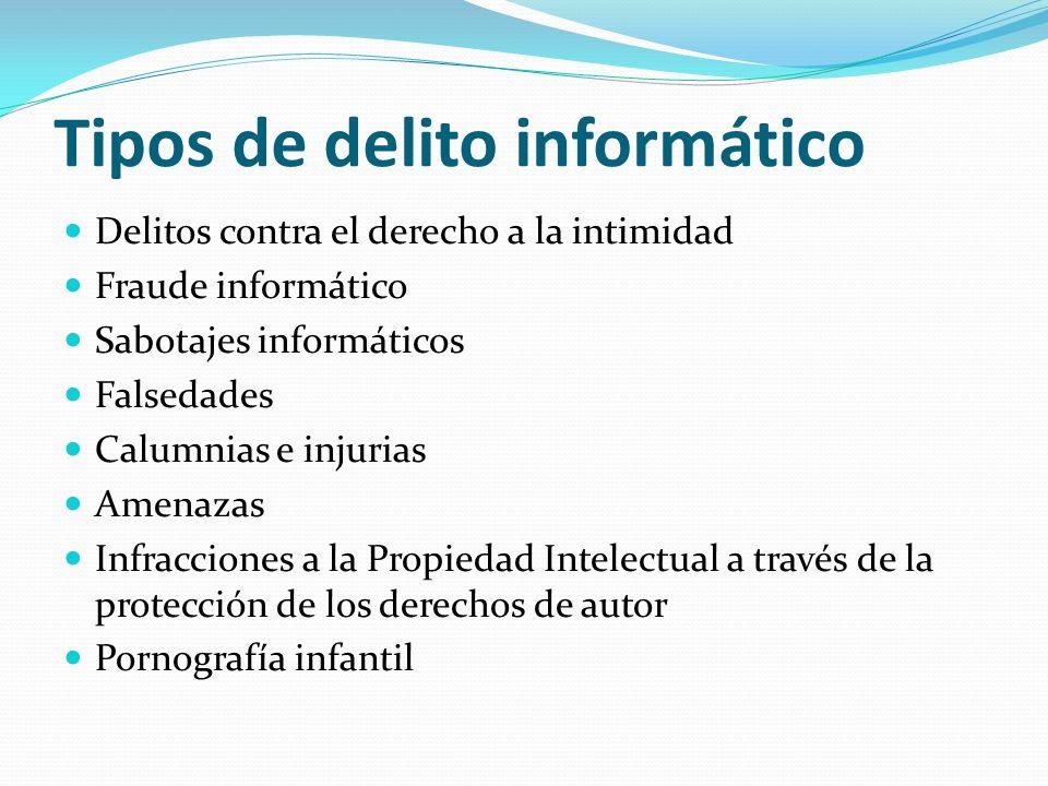 Tipos de delito informático Delitos contra el derecho a la intimidad Fraude informático Sabotajes informáticos Falsedades Calumnias e injurias Amenaza