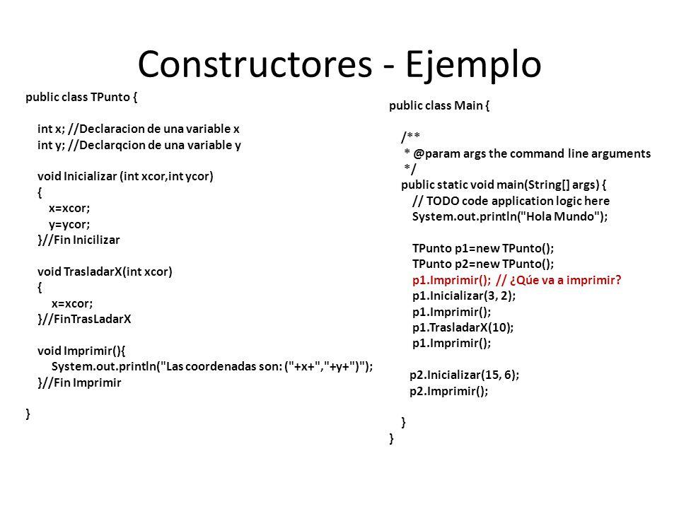 Constructores - Ejemplo public class TPunto { int x; //Declaracion de una variable x int y; //Declarqcion de una variable y void Inicializar (int xcor