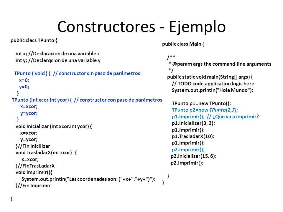Constructores - Ejemplo public class TPunto { int x; //Declaracion de una variable x int y; //Declarqcion de una variable y TPunto ( void ) { // const