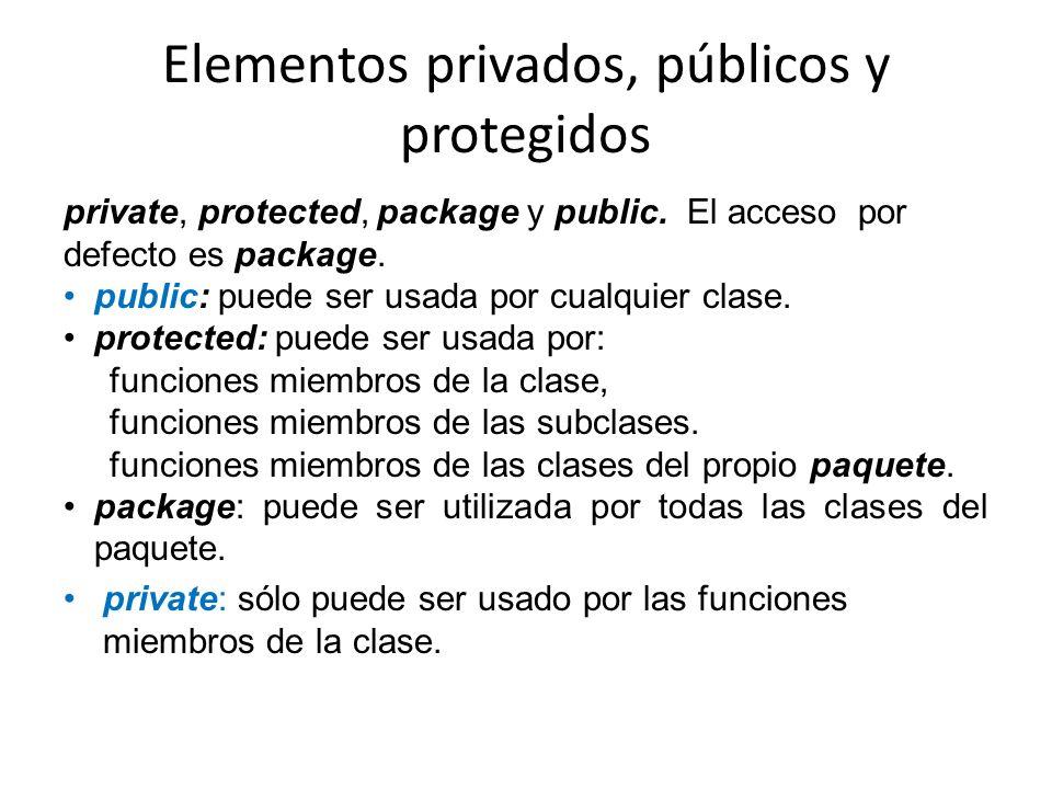 Elementos privados, públicos y protegidos private, protected, package y public. El acceso por defecto es package. public: puede ser usada por cualquie