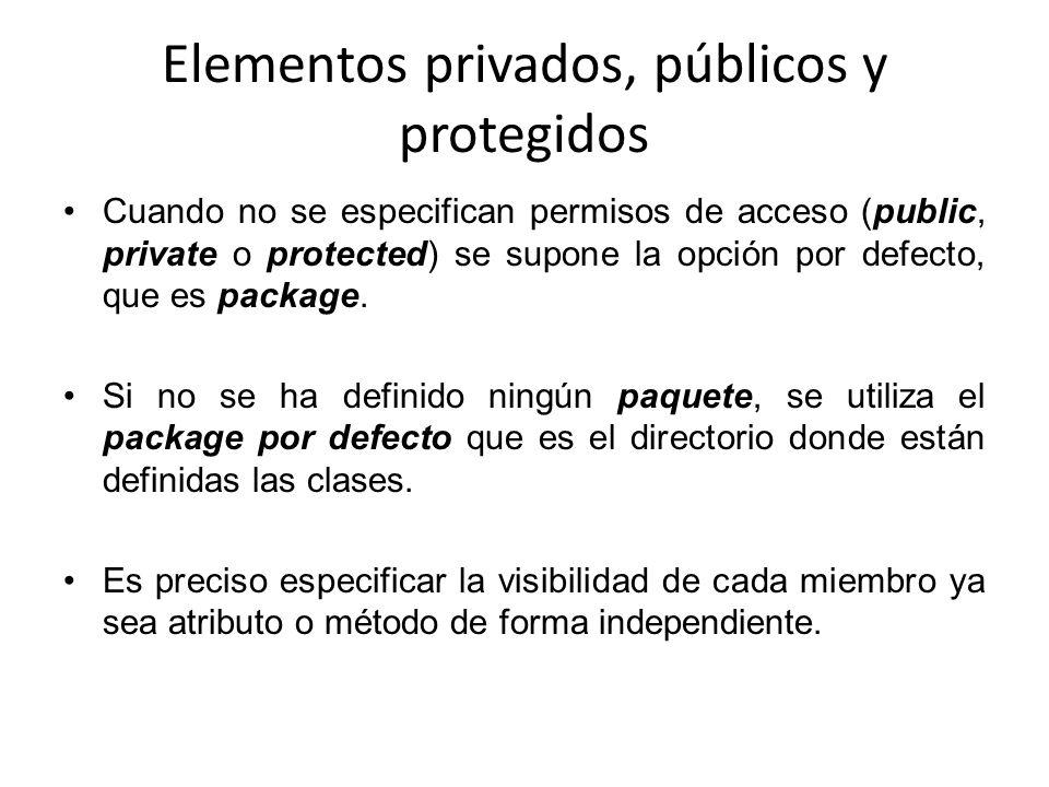 Elementos privados, públicos y protegidos Cuando no se especifican permisos de acceso (public, private o protected) se supone la opción por defecto, q