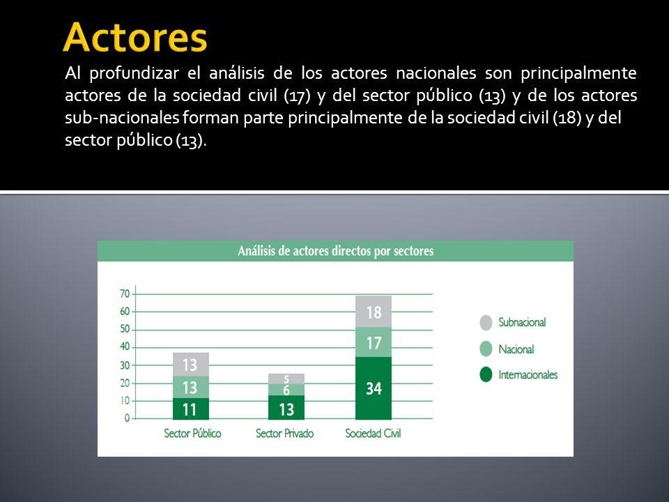 Al profundizar el análisis de los actores nacionales son principalmente actores de la sociedad civil (17) y del sector público (13) y de los actores sub-nacionales forman parte principalmente de la sociedad civil (18) y del sector público (13).