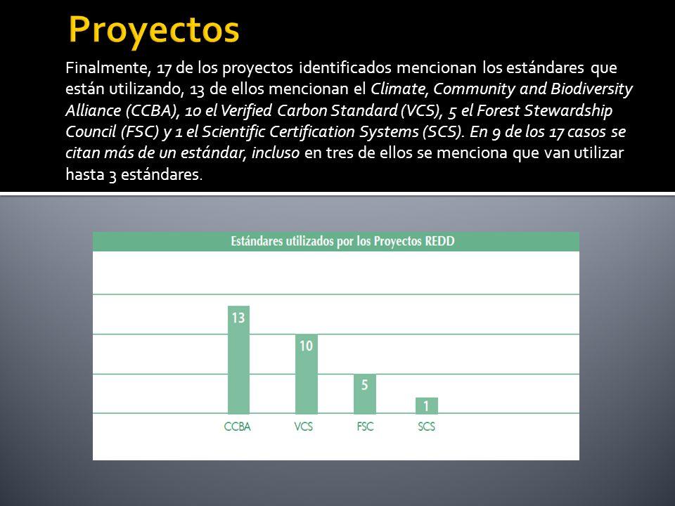 Finalmente, 17 de los proyectos identificados mencionan los estándares que están utilizando, 13 de ellos mencionan el Climate, Community and Biodiversity Alliance (CCBA), 10 el Verified Carbon Standard (VCS), 5 el Forest Stewardship Council (FSC) y 1 el Scientific Certification Systems (SCS).