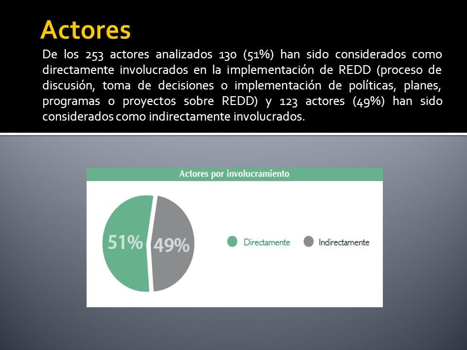 De los 253 actores analizados 130 (51%) han sido considerados como directamente involucrados en la implementación de REDD (proceso de discusión, toma de decisiones o implementación de políticas, planes, programas o proyectos sobre REDD) y 123 actores (49%) han sido considerados como indirectamente involucrados.