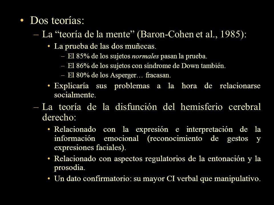 Dos teorías: –La teoría de la mente (Baron-Cohen et al., 1985): La prueba de las dos muñecas. –El 85% de los sujetos normales pasan la prueba. –El 86%