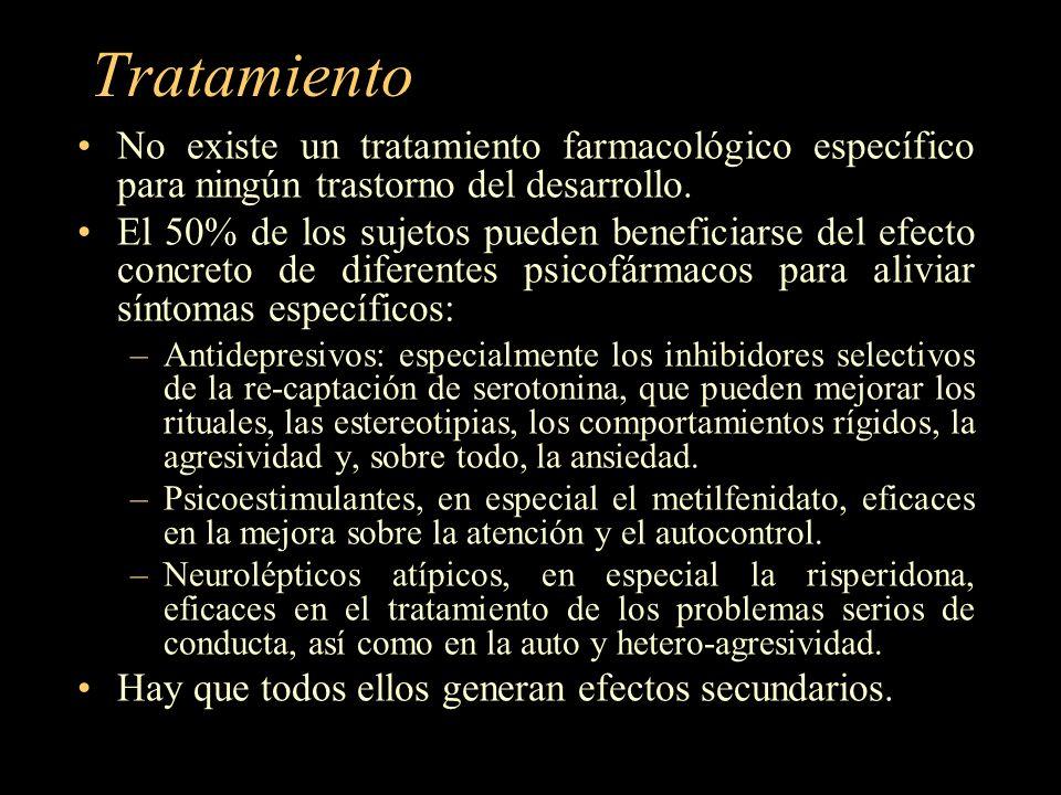 Tratamiento No existe un tratamiento farmacológico específico para ningún trastorno del desarrollo. El 50% de los sujetos pueden beneficiarse del efec